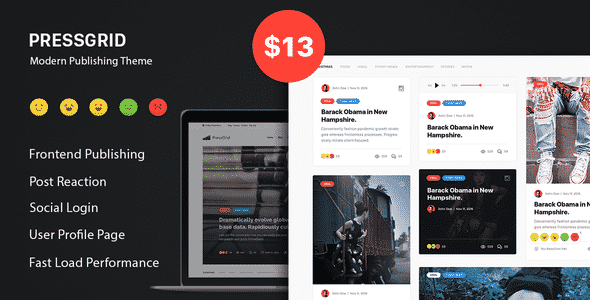 Tema PressGrid Themeton - Template WordPress