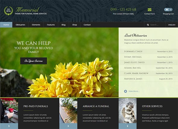 Tema Memorial - Template WordPress