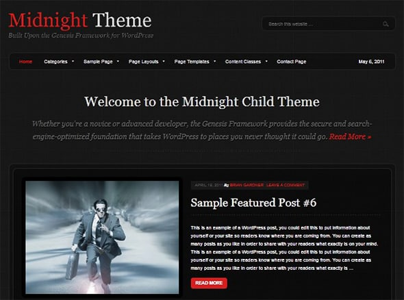 Tema Midnight StudioPress - Template WordPress