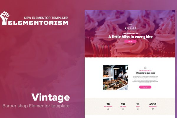 Tema Vintage Elementor - Template WordPress