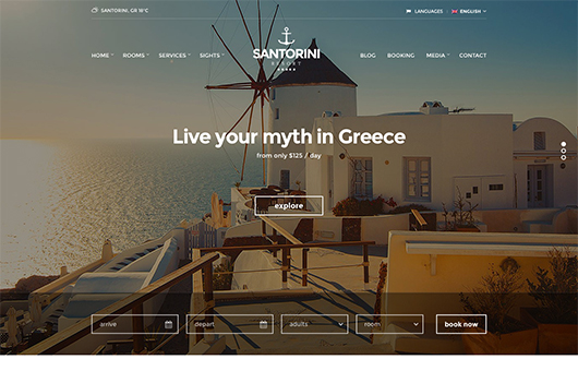 Tema Santorini Resort - Template WordPress