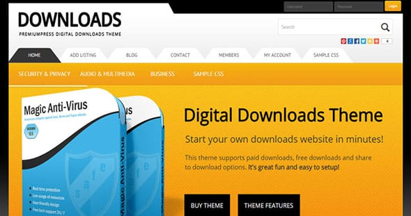 Tema Digital Downloads - Template WordPress
