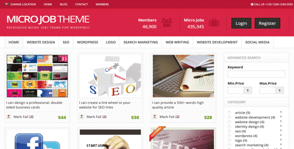 Tema Micro Jobs PremiumPress - Template Wordpress