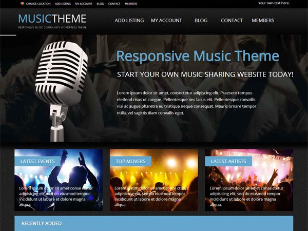 Tema Music PremiumPress - Template WordPress