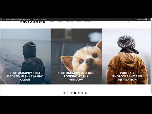 Tema Photo Swipe - Template WordPress