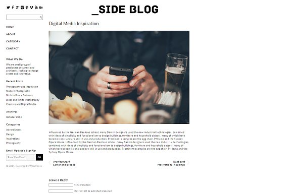 Tema Side Blog - Template WordPress