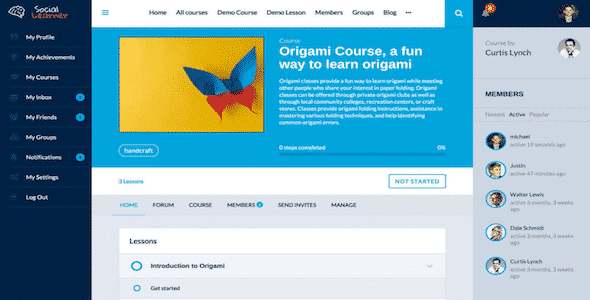 Tema Social Learner for Sensei - Template WordPress