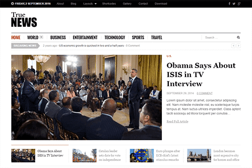 Tema TrueNews - Template WordPress