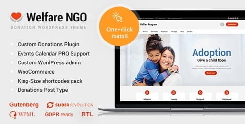 Tema Welfare NGO - Template WordPress