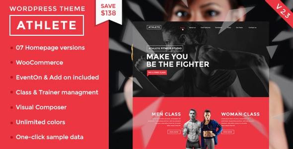 Tema Athlete Fitness - Template WordPress