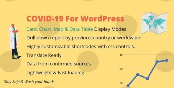 Plugin COVID-19 Live Statistics Card Map Table Chart - WordPress