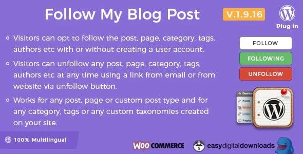 Plugin Follow my blog Post - WordPress