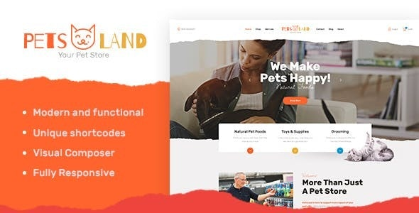 Tema Pets Land - Template WordPress