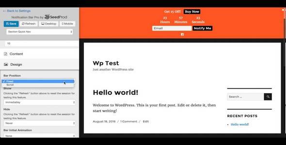 Plugin Seedprod Notification Bar Pro - WordPress