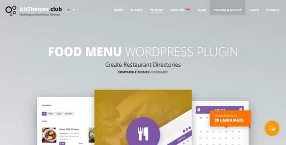 Plugin Food Menu - WordPress