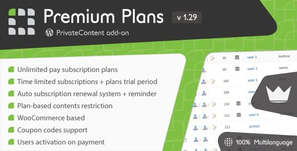 Plugin PrivateContent Premium Plans add-on - WordPress