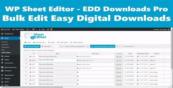 Plugin Wp Sheet Editor Premium - WordPress