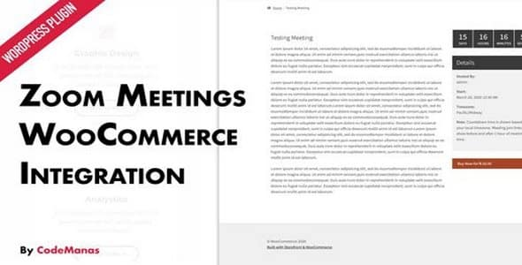 Plugin Zoom Meetings for WooCommerce - WordPress