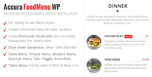 Plugin Accura FoodMenu Wp - WordPress