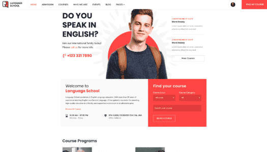 Tema Language School - Template WordPress