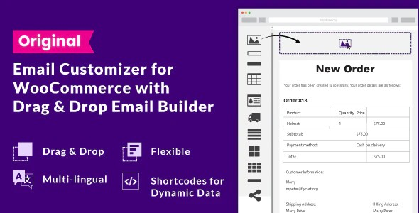 Plugin Email Customizer for WooCommerce with Drag and Drop Email Builder - WordPress
