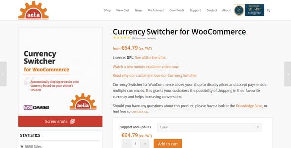 Plugin Currency Switcher for WooCommerce - WordPress