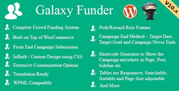 Plugin Galaxy Funder - WordPress