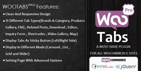 Plugin Woocommerce Tabs Pro - WordPress