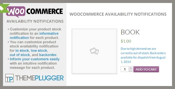 Plugin WooCommerce Availability Notifications - WordPress